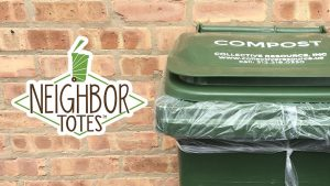 Neighbor Totes logo next to a green, lined 32-gallon tote