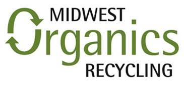 """Midwest Organics Recycling logo, consisting of the words themselves with the """"O"""" in """"organics"""" formed by a two arrows forming a loop."""