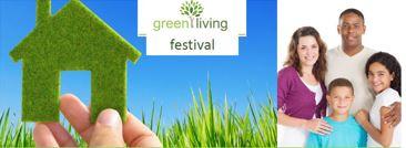 Green Living Festival log beside group photo of family of four