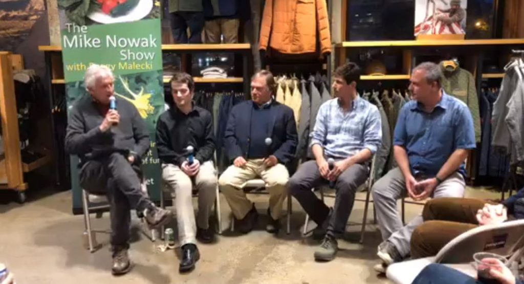 Screen capture from video of Mike Nowak Show, featuring host and panelists in conversation at Patagonia