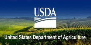 USDA logo and name in white with agricultural fields in background
